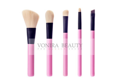 Fasionable 5pcs Makeup Brush Gift Set With Pink Handle And Black Ferrule