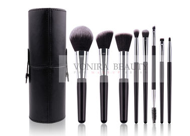Classic Black Customized Synthetic Makeup Brushes Set With Holder