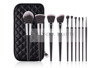 Private Label Balck White Top Taklon Synthetic Makeup Brushes With Brush Case