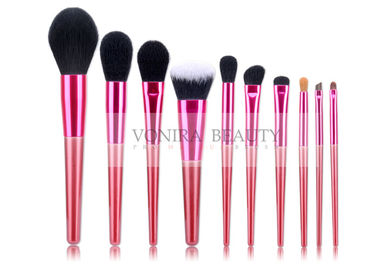 Red Tapered Synthetic Hair Makeup Brushes With Glossy Ferrule