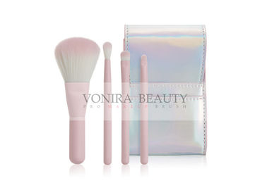 4pcs Pink Color Soft  Mass Level Makeup Brushes Facial Set Easy To Carry