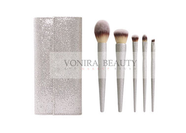 Shiny Silver Handle Synthetic Makeup Brushes Stylish Brush Case Involved
