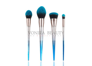 Beautiful Blue Gradient Color Synthetic Makeup Brushes Galvanized Tapered Handle