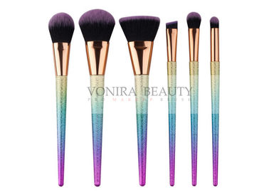 6PCS Glistening Look Synthetic Makeup Brushes Gradual Color Handle