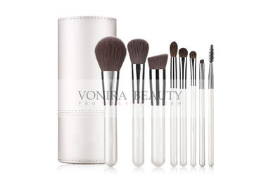 8PCS Spotlessly White Mass Level Makeup Brushes With White Tubby Case
