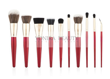 Premium Prefessional Synthetic Makeup Brush Set With Shiny Red Handle