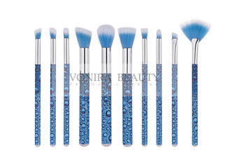 China Eye Catching Blue Mass Level Makeup Brushes , Face And Eye Brush Set Water Look Handle supplier