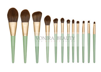 China Cruelty - Free Matte Gold Synthetic Makeup Brush Set With Green Handle supplier