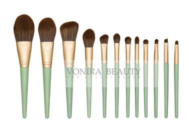 Cruelty - Free Matte Gold Synthetic Makeup Brush Set With Green Handle