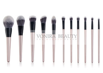 China Vegan Taklon Hair 11 Pieces Synthetic Makeup Brushes With Golden Wood Handle supplier