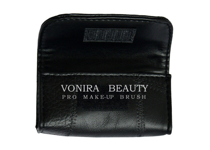 4afd610a34 High Quality Leather Cosmetic Organizer Case Roll For Short Makeup Brushes  Pouch Bag Black