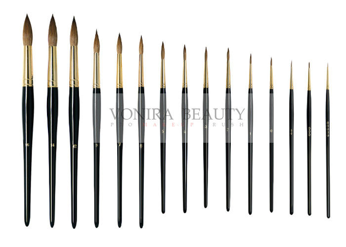 Fabulous Nature Pure Kolinsky Round Nail Art Brushes With Gold ...