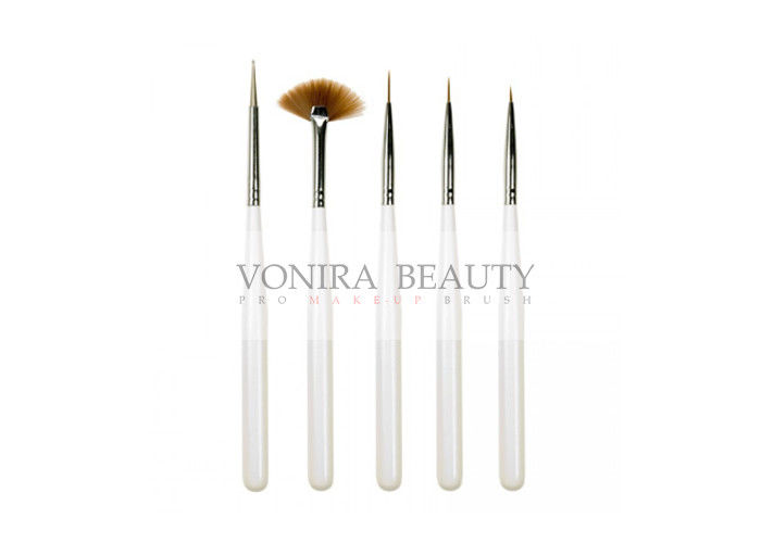 Pearl White Full Line Nail Art Brushes Set With Pure Kolinsky Hair