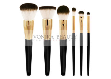 China Classic Goat Hair Makeup Brush Set Three Tone Natural Hair Makeup Brushes With Gold Ferrules factory