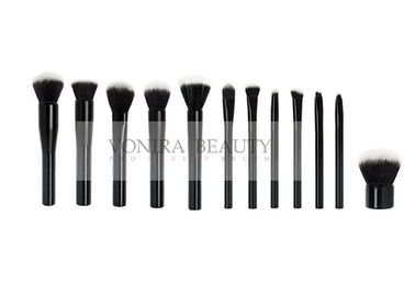 China Classic Gloosy Black Flat End Shape Handle Taklon Synthetic Hair Makeup Brushes With Balck White Tip factory
