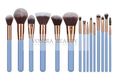 China Rosy Gold Taklon Synthetic Hair Makeup Brushes With Blue Handlle factory
