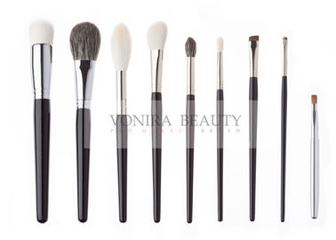 China Gorgeous Handmade Natural Animal Hair Makeup Brushes Luxe Glossy Black Handle factory