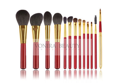China Animal Hair Makeup Brushes With Classic Match Bright Red Handle And Gold Ferrule factory