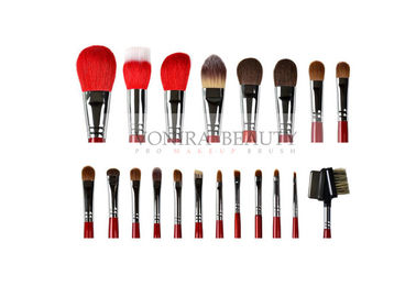 China Gorgeous Ultra Soft Makeup Brushes 20Pcs Goat Sable Pony Hair Brushes With Glossy Red Handle factory