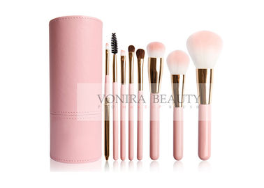 China Cute Pink Vegan Synthetic Hair Makeup Brushes PU Leather Holder Customized  factory