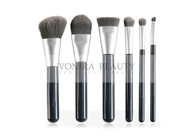China Glossy Black Vegan Free Synthetic Makeup Brushes Duo Tone Bristles factory