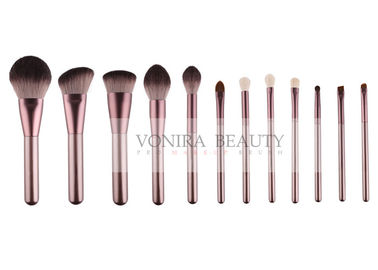 China Personized 12PCS Vegan Synthetic Hair Makeup Brushes Rose Gold Ferrule factory